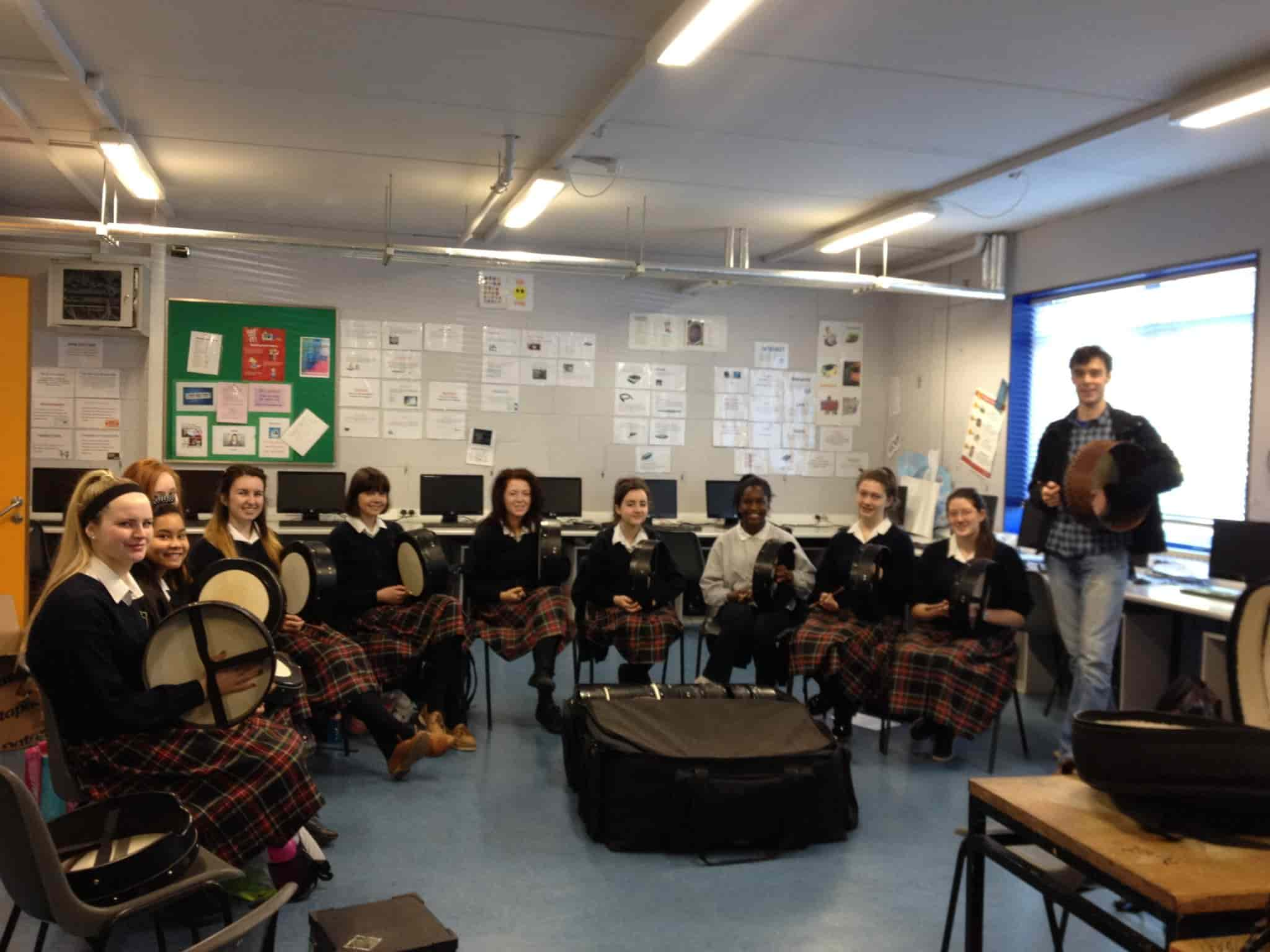 Bodhrán Beats works with the girls in St Josephs Lucan